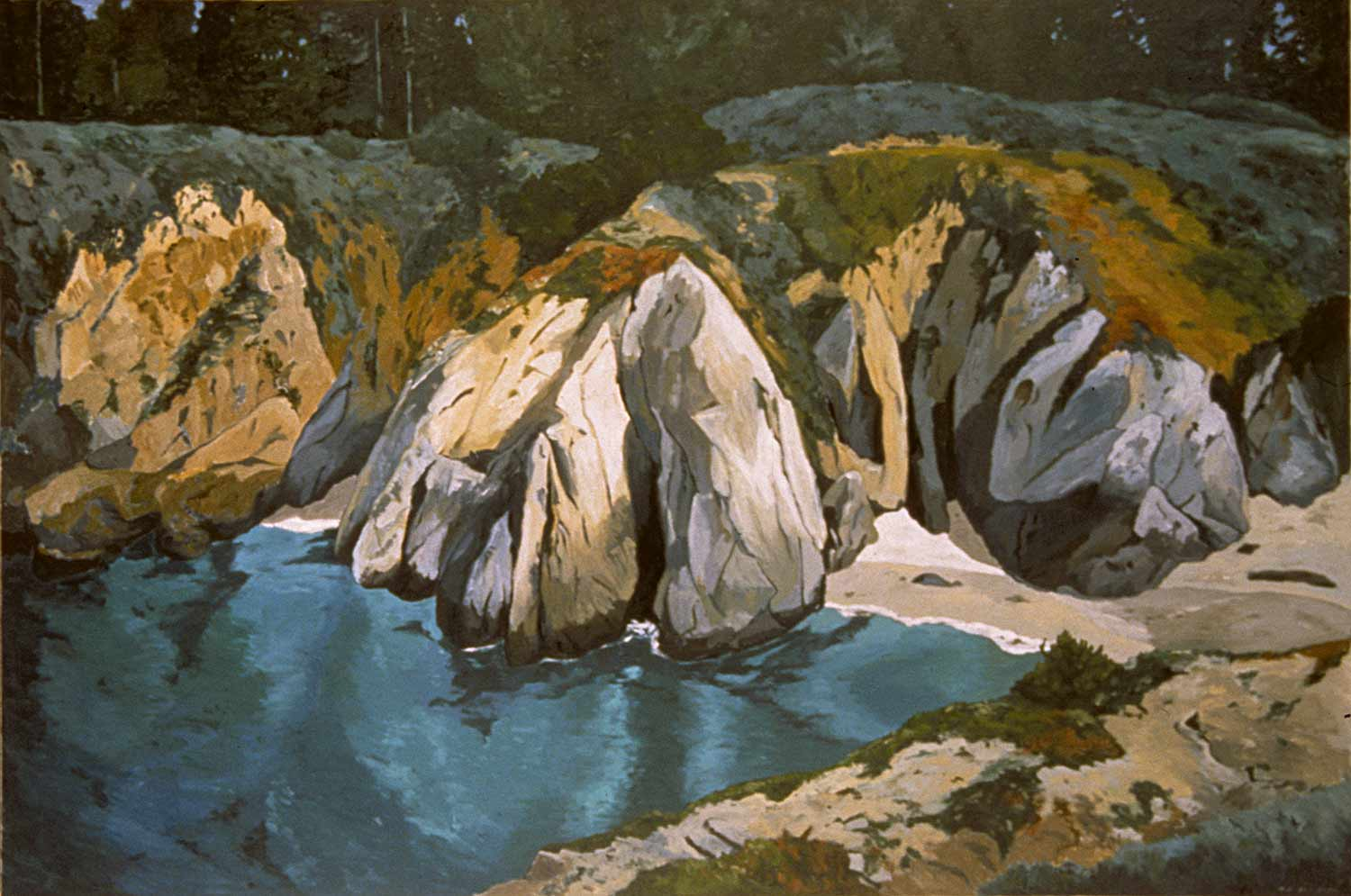 Arched Rock, Point Lobos, Oil pastel on paper, Paintings of California by Mary Alice Copp