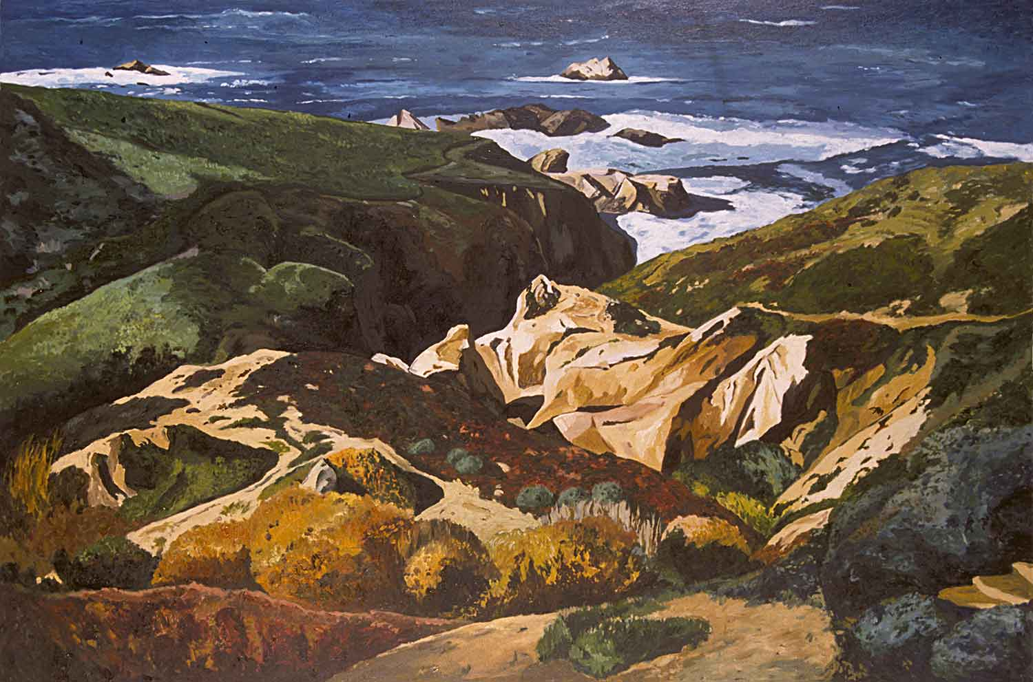 Big Sur, Oil pastel on paper, Paintings of California by Mary Alice Copp