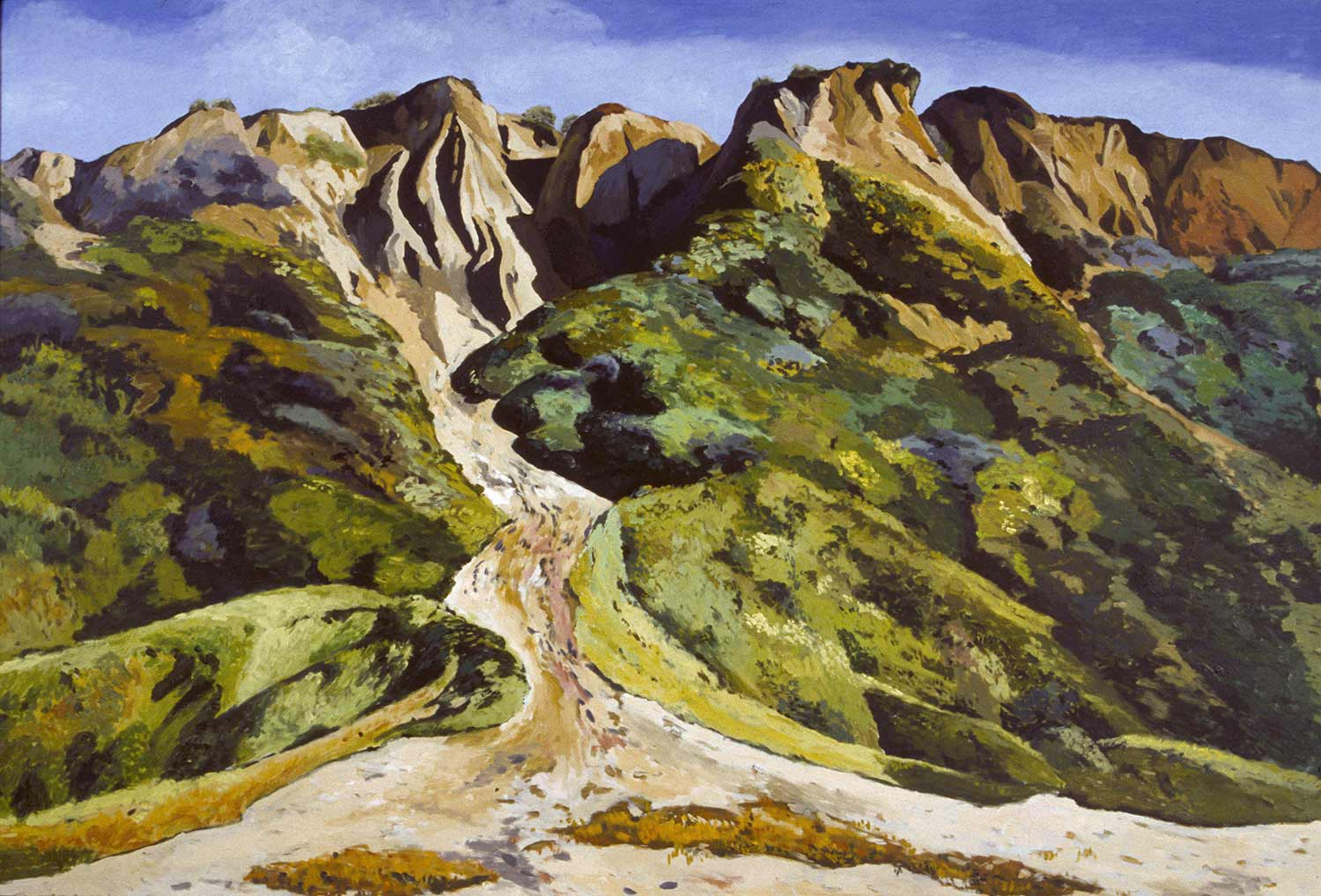 Manresa Cliffs, Oil pastel on paper, Paintings of California by Mary Alice Copp
