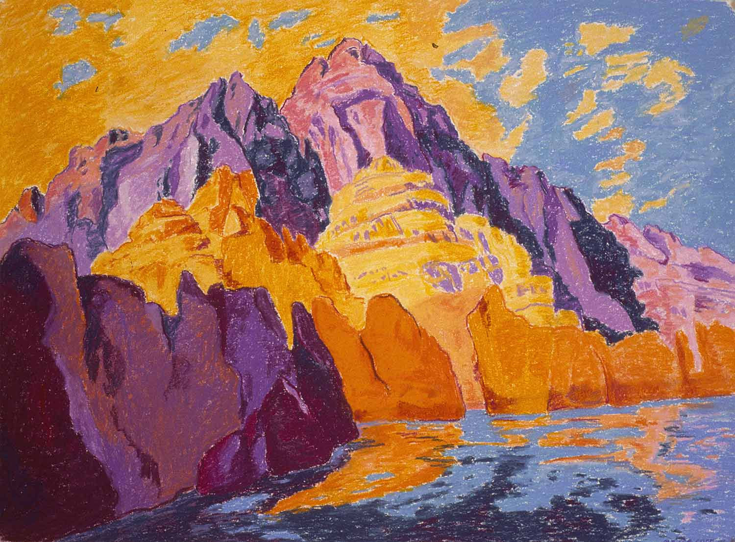Grand Canyon #11, Oil pastel on paper by Mary Alice Copp