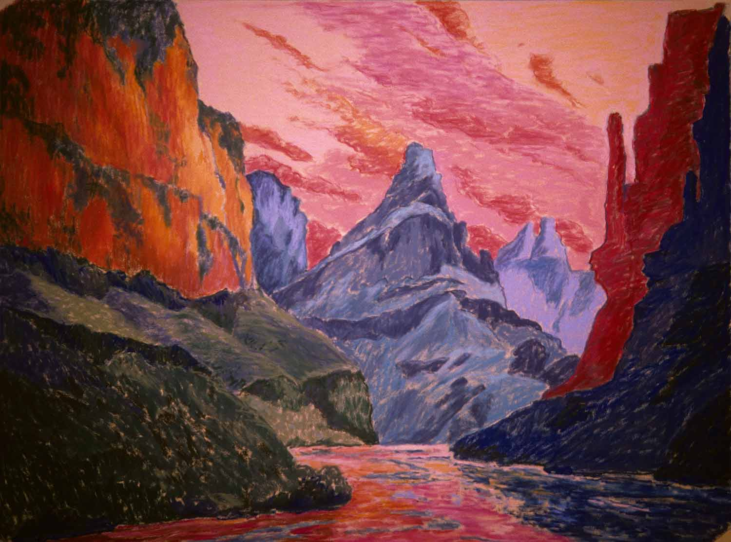 Grand Canyon #14, Oil pastel on paper by Mary Alice Copp