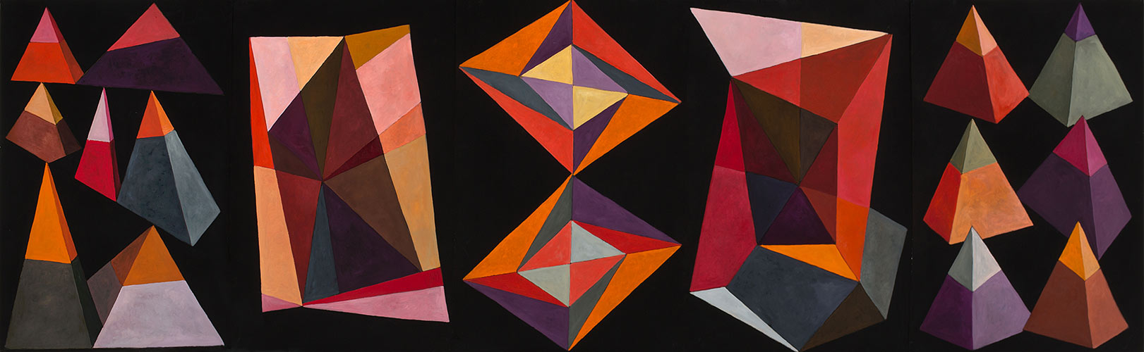 Triangle Shuffle, Oil on paper, Mary Alice Copp