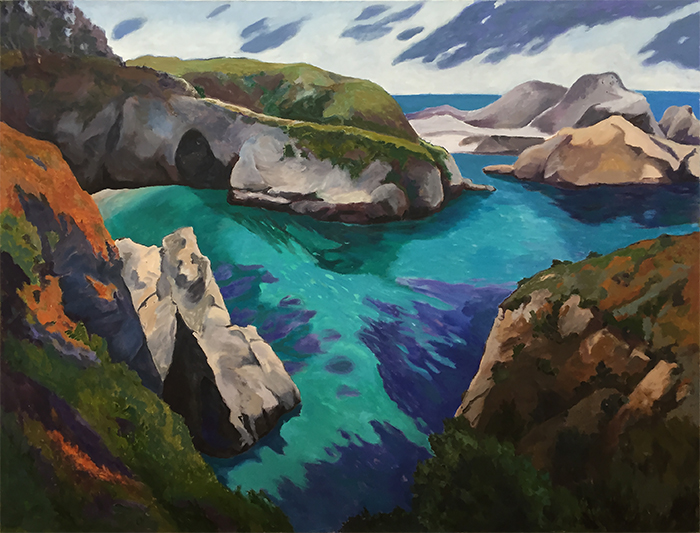 China Bay, Point Lobos, Painting of California, Oil on canvas, Mary Alice Copp