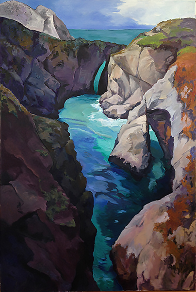 Point Lobos Inlet, Painting of California, Oil on canvas, Mary Alice Copp