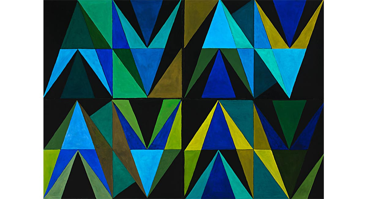 Rhythm ´n Blues, Greens, Oil on paper, Mary Alice Copp