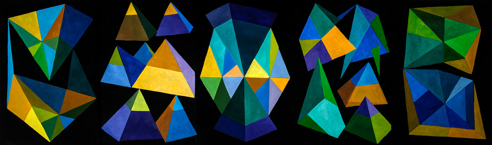 Green Theme, 5 panels, Oil on paper, 44 X 150 inches, Mary Alice Copp