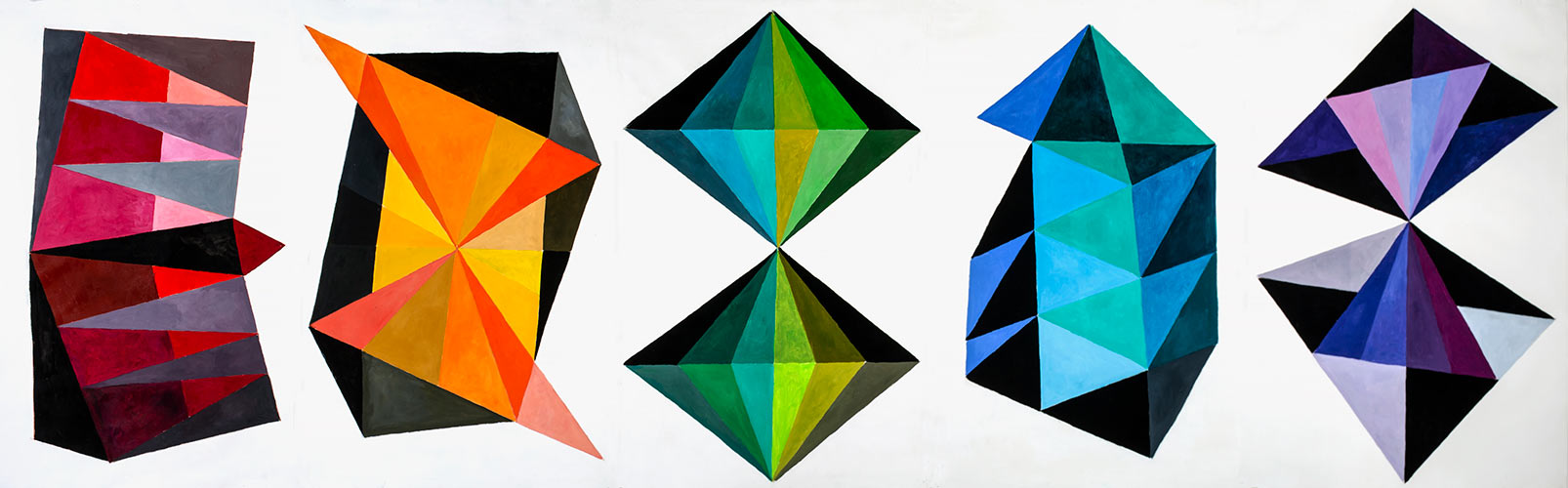 Spectrum, 5 panels, Oil on paper, 44 X 150 inches, Mary Alice Copp